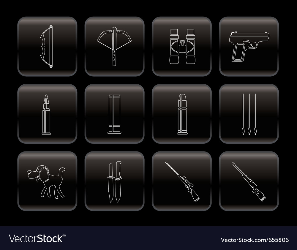 Hunting and arms icons vector | Price: 1 Credit (USD $1)