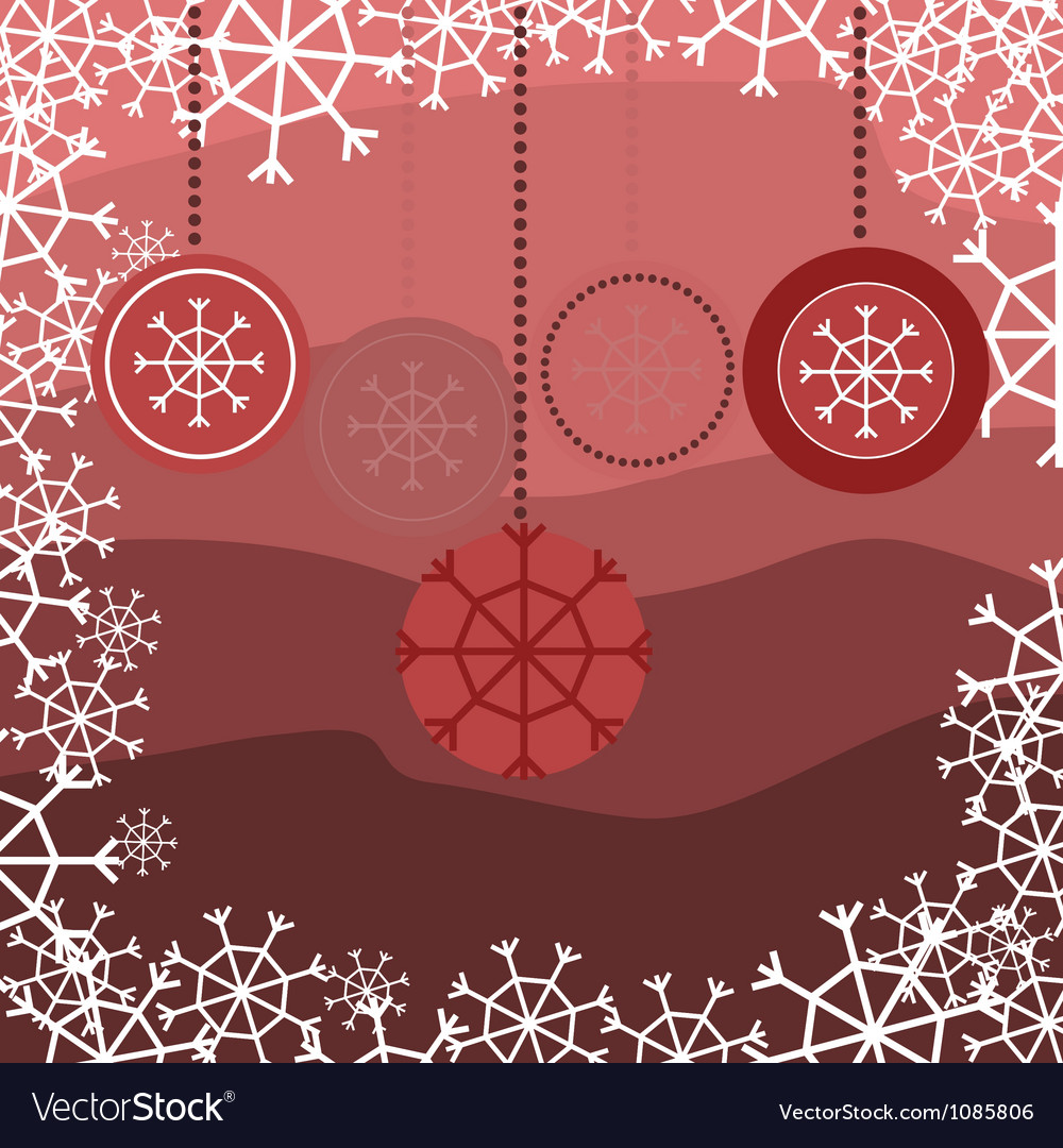 Red snake with floral pattern with snow vector | Price: 1 Credit (USD $1)