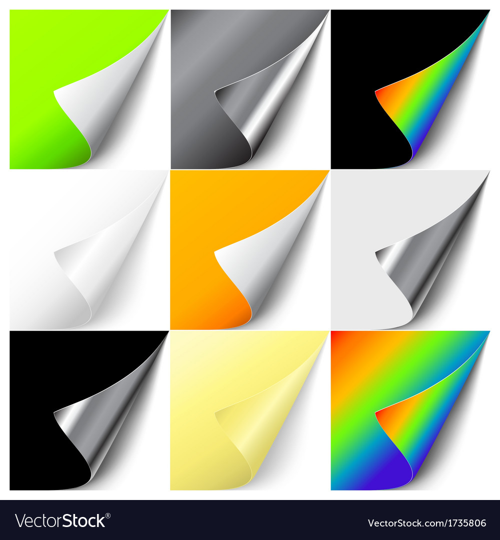 Set of colorful curled corners vector | Price: 1 Credit (USD $1)