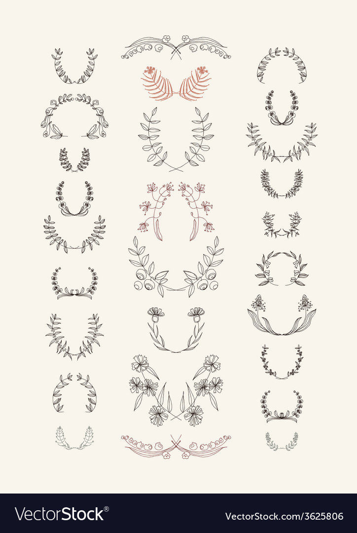 Set of symmetrical floral graphic design elements vector | Price: 1 Credit (USD $1)