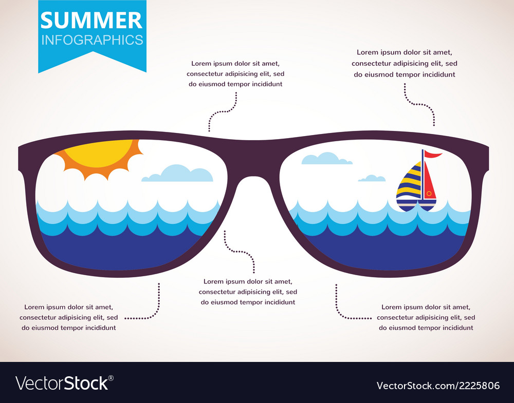 Summer infographics sunglasses with ocean view vector | Price: 1 Credit (USD $1)