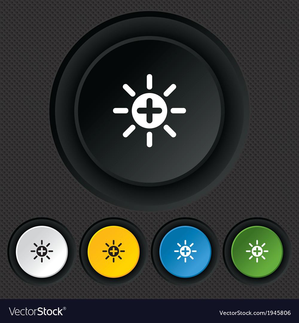 Sun plus sign icon heat symbol brightness vector   Price: 1 Credit (USD $1)