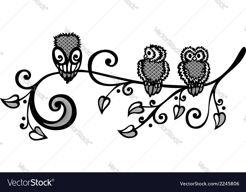 Three owls on ornate branch vector | Price: 1 Credit (USD $1)