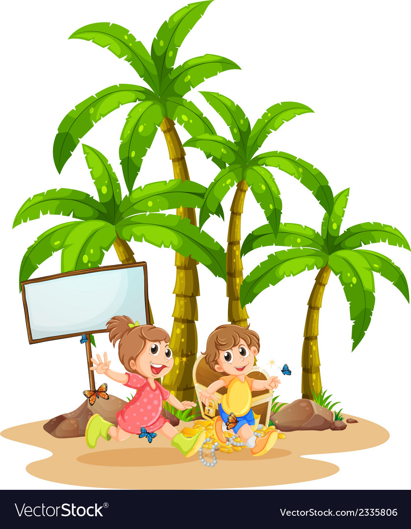 Two kids playing near the empty signboard vector   Price: 3 Credit (USD $3)
