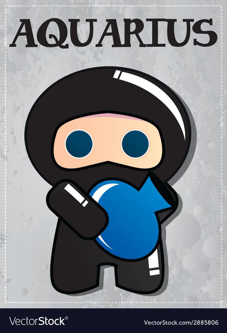 Zodiac sign aquarius with cute black ninja vector | Price: 1 Credit (USD $1)