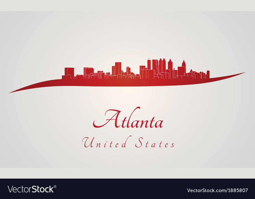 Atlanta skyline in red vector | Price: 1 Credit (USD $1)
