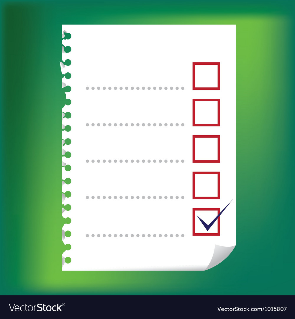 Checkbox notepad paper vector | Price: 1 Credit (USD $1)