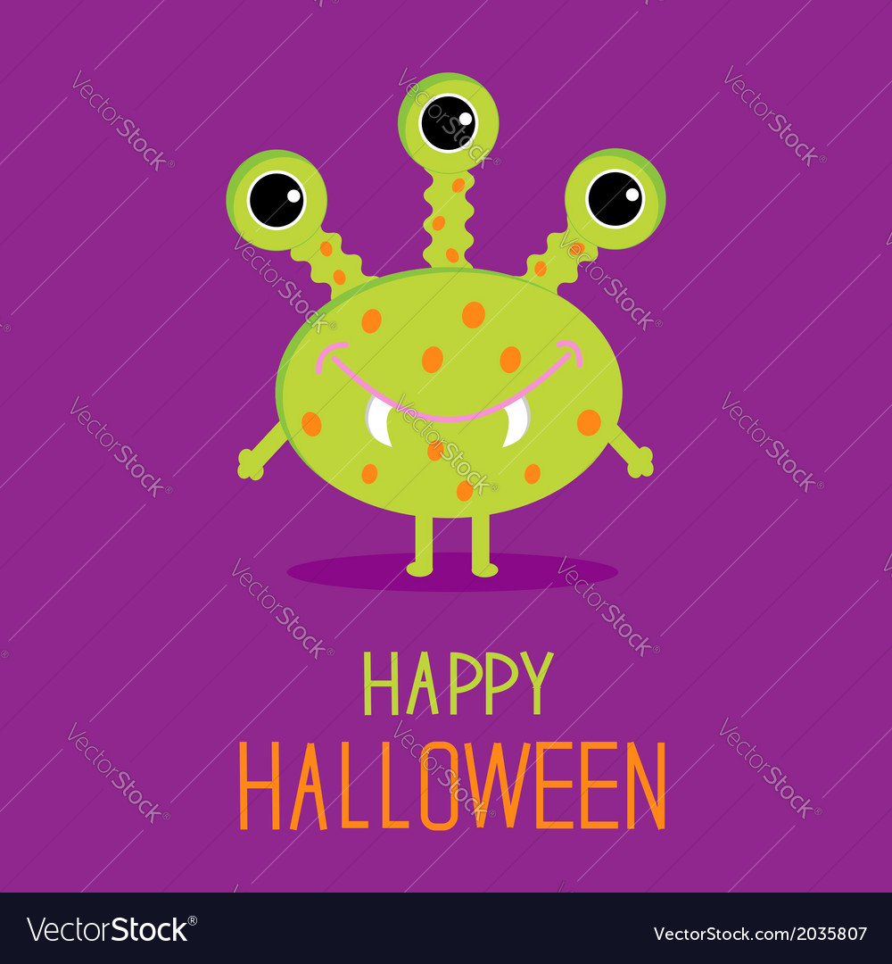 Cute cartoon green monster happy halloween card vector | Price: 1 Credit (USD $1)