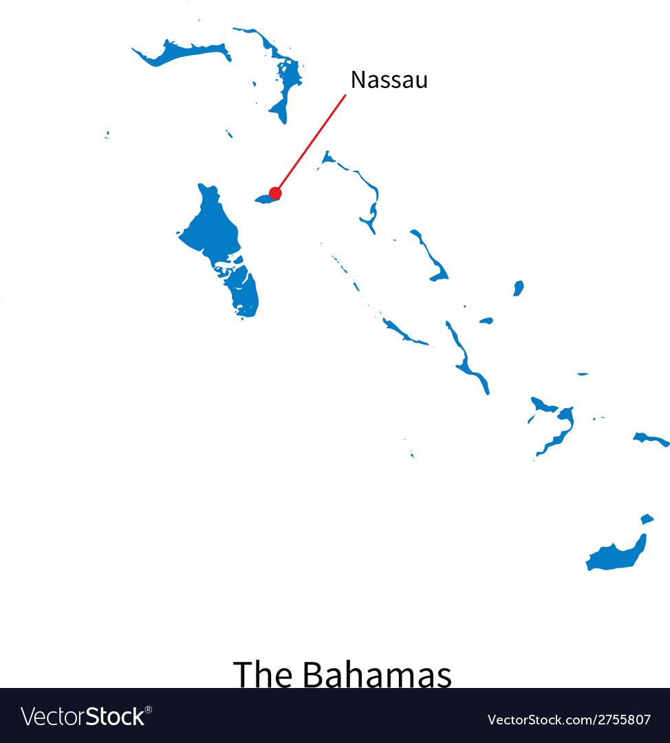 Detailed map of bahamas and capital city nassau vector | Price: 1 Credit (USD $1)