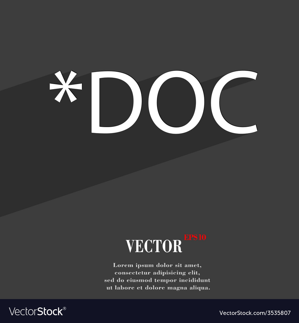 Doc file extension icon symbol flat modern web vector | Price: 1 Credit (USD $1)