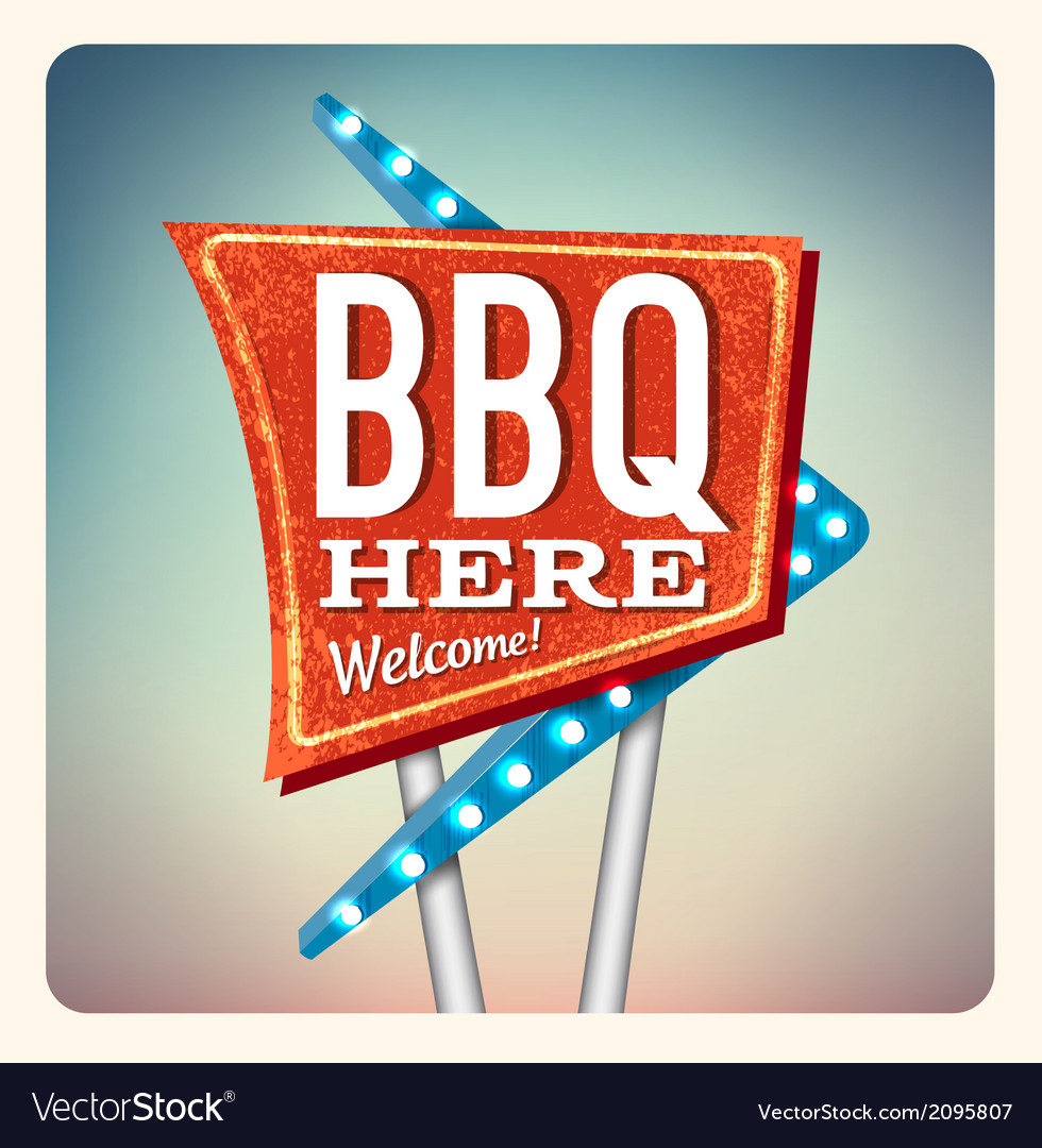 Retro neon sign bbq vector | Price: 1 Credit (USD $1)