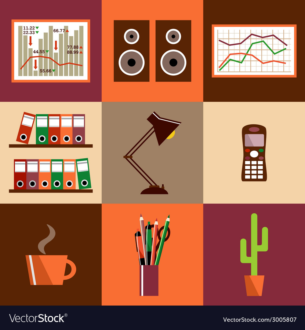 Set of office things vector | Price: 1 Credit (USD $1)