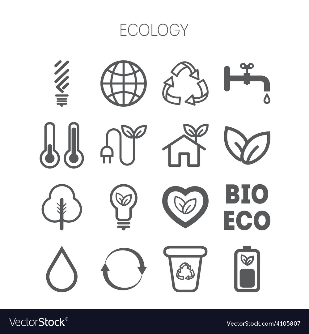 Set of simple monochromatic ecology icons vector | Price: 1 Credit (USD $1)