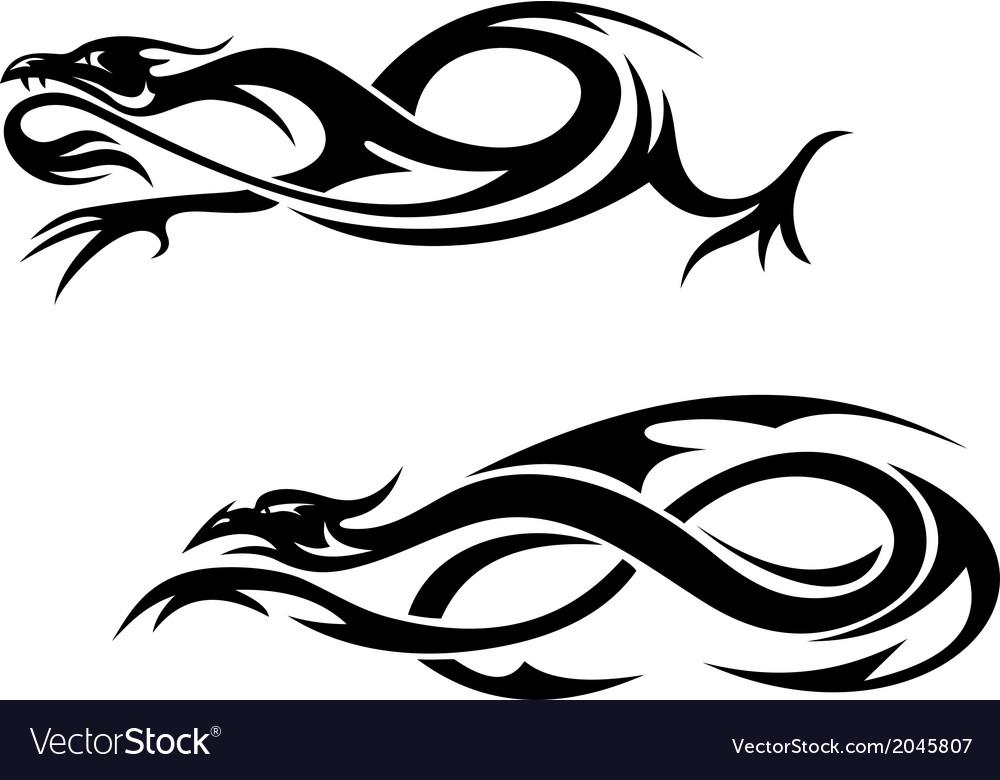 Tribal dragons vector | Price: 1 Credit (USD $1)