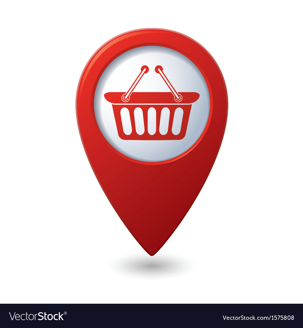 Basket icon red map pointer vector | Price: 1 Credit (USD $1)