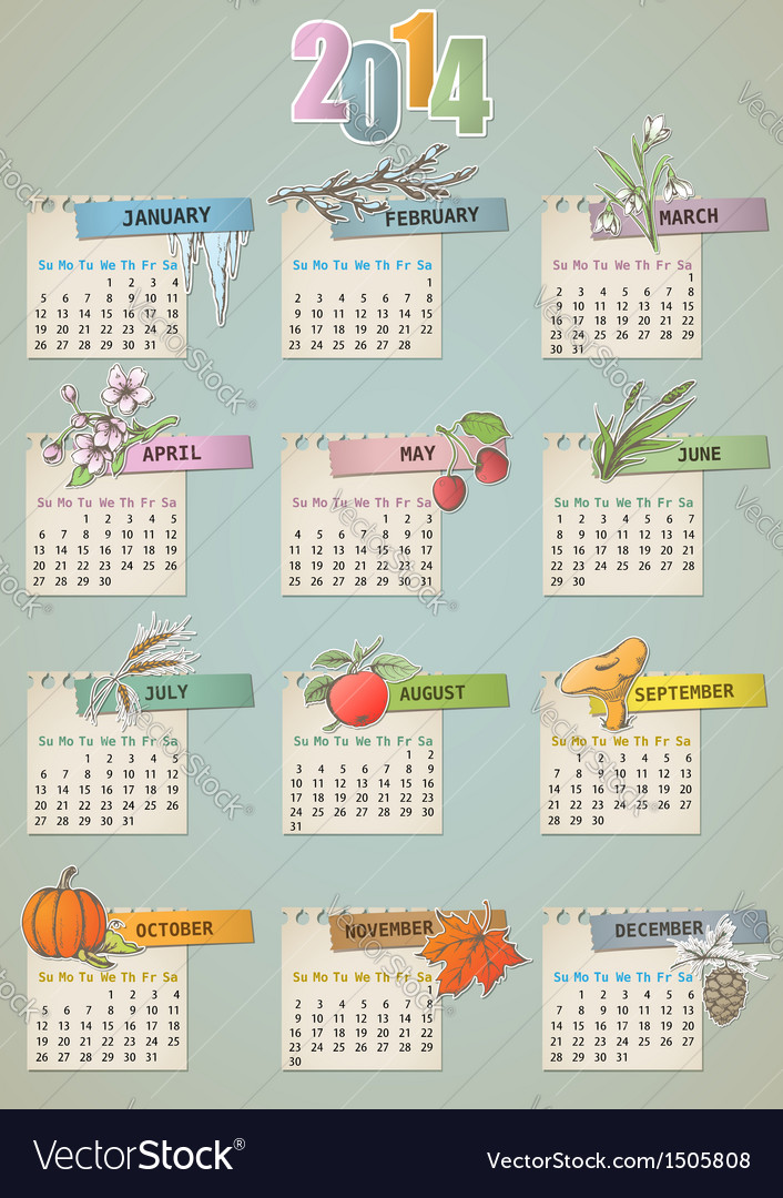 Calendar vintage vector | Price: 1 Credit (USD $1)