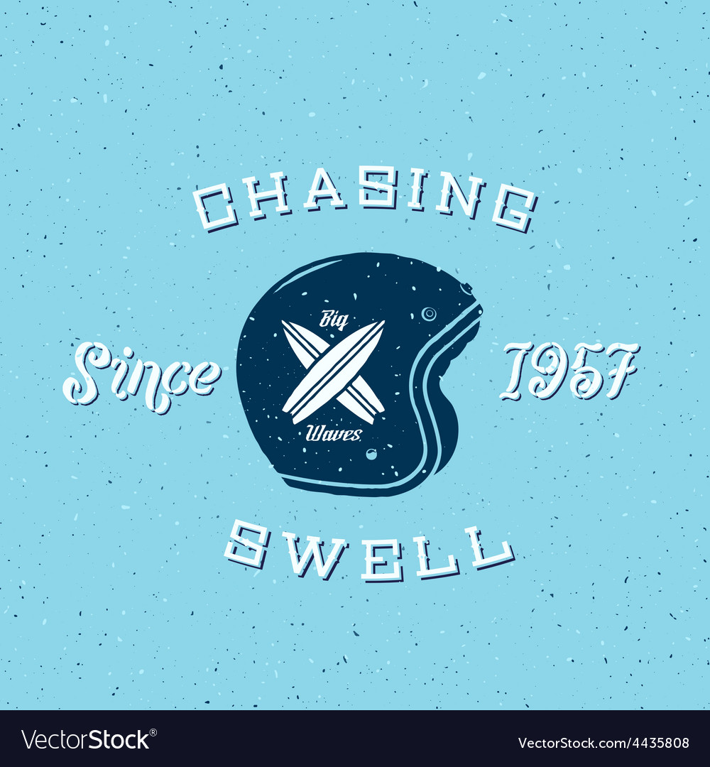Chasing swell abstract retro surfers label vector | Price: 1 Credit (USD $1)