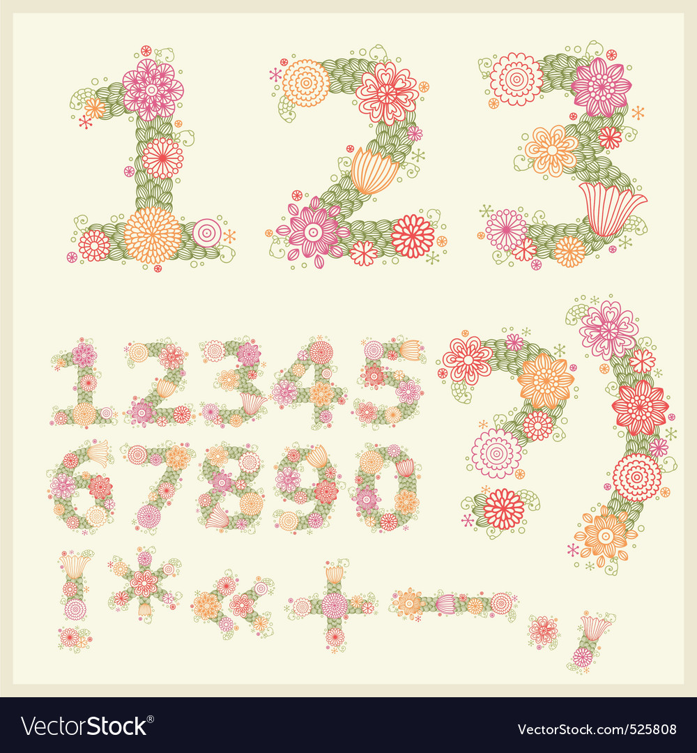 colorful flower font vector | Price: 1 Credit (USD $1)