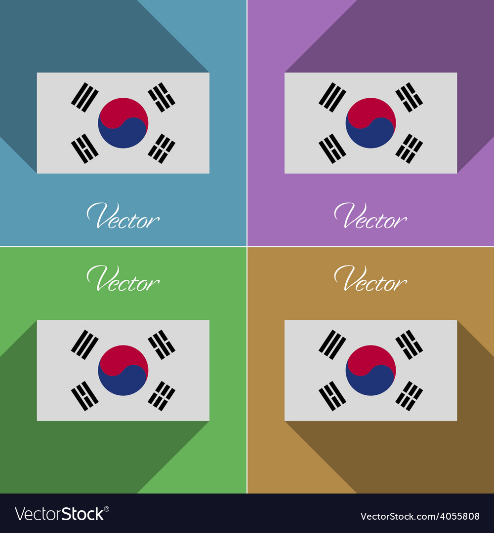 Flags korea south set of colors flat design and vector | Price: 1 Credit (USD $1)
