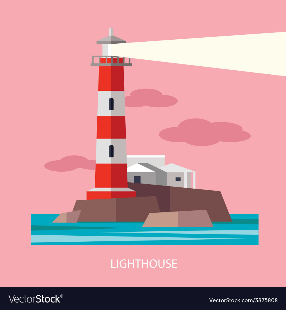 Flat red beacon vector | Price: 1 Credit (USD $1)