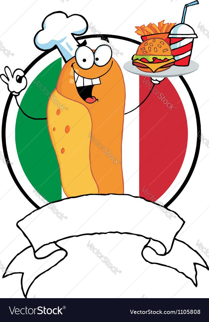 Hot dog chef over a blank banner and italian flag vector | Price: 1 Credit (USD $1)