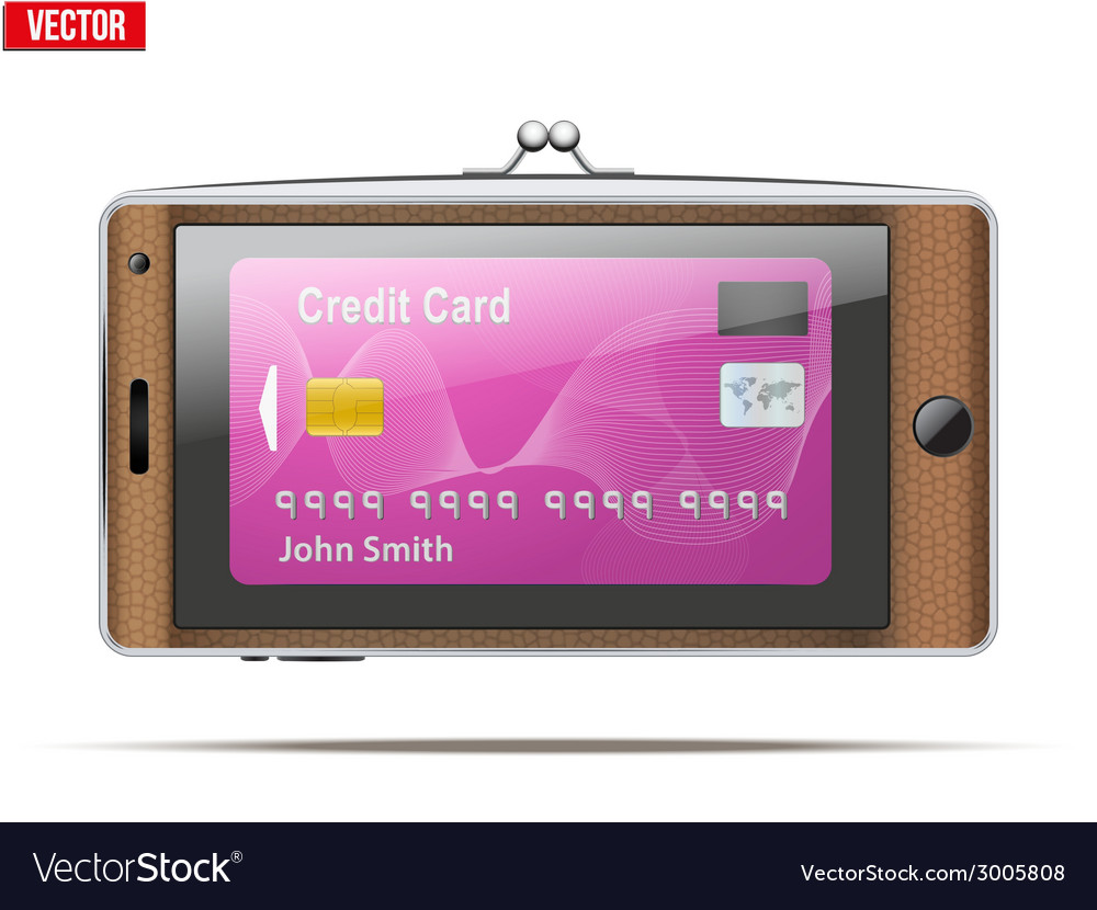 Mobile phone in the form of a wallet electronic vector | Price: 1 Credit (USD $1)