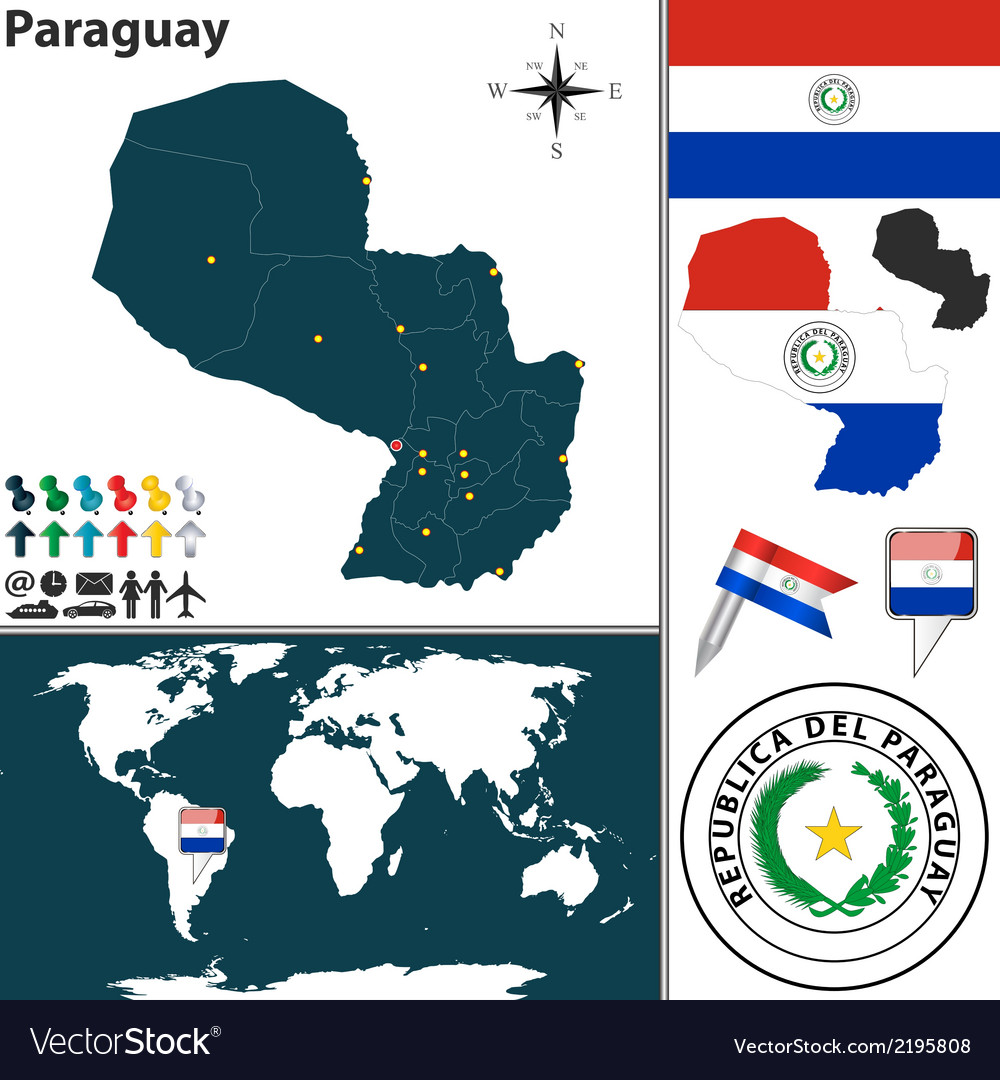 Paraguay map world vector | Price: 1 Credit (USD $1)