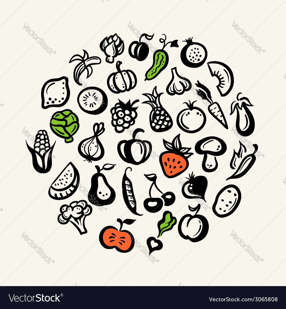 Set of flat design fruit and vegetables icons vector | Price: 1 Credit (USD $1)