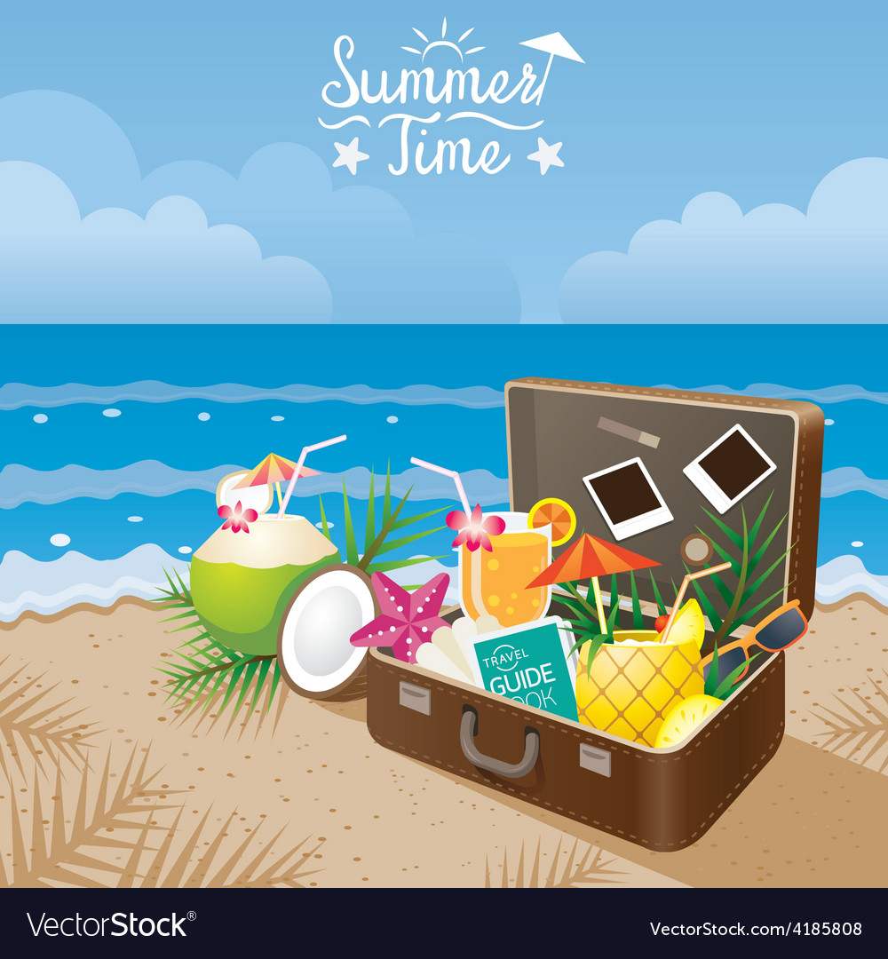 Suitcase with summer objects on the beach vector | Price: 3 Credit (USD $3)