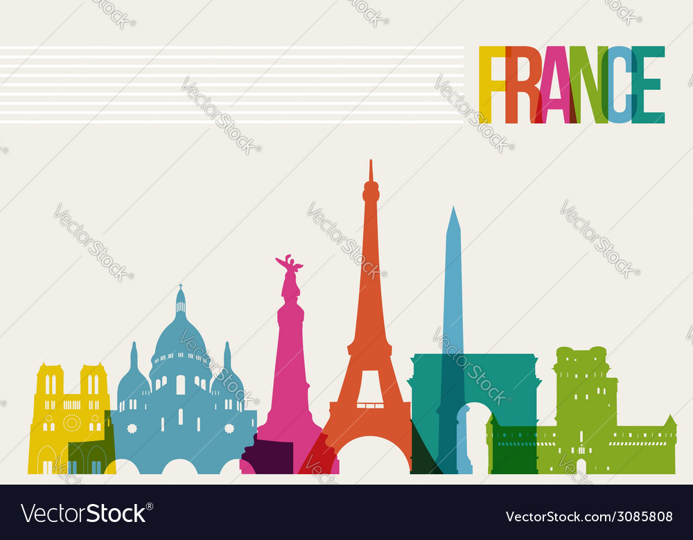 Travel france destination landmarks skyline vector | Price: 1 Credit (USD $1)