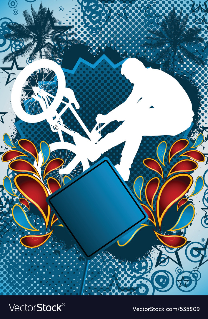 Bmx biker summer background vector | Price: 1 Credit (USD $1)