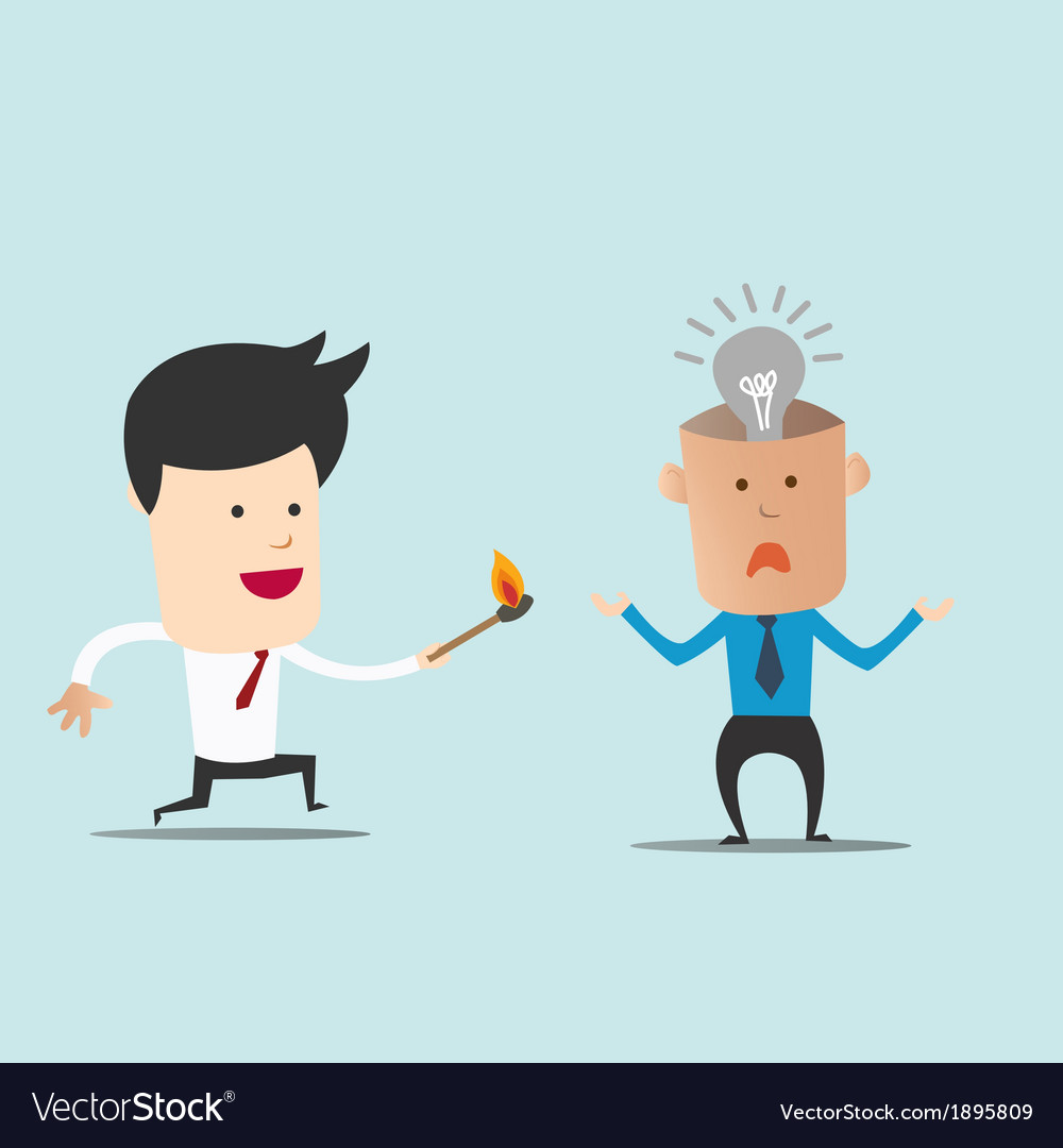 Business man use match to spark light bulb vector | Price: 1 Credit (USD $1)
