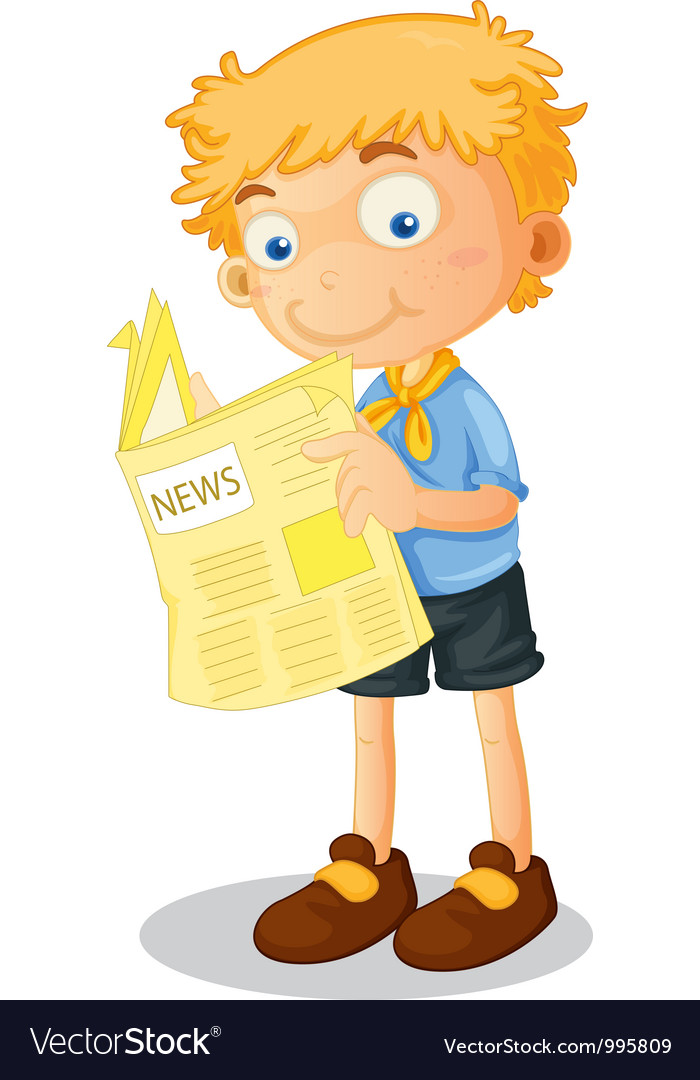 Cartoon boy reading newspaper vector | Price: 1 Credit (USD $1)