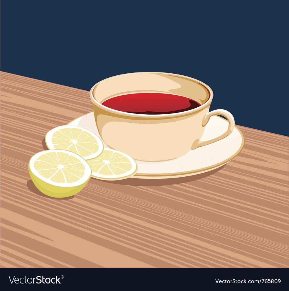 Cup of tea and slices of lemon is on the saucer vector | Price: 1 Credit (USD $1)
