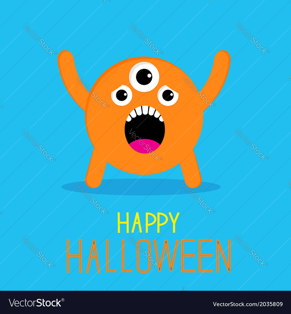 Cute cartoon orange monster happy halloween card vector | Price: 1 Credit (USD $1)