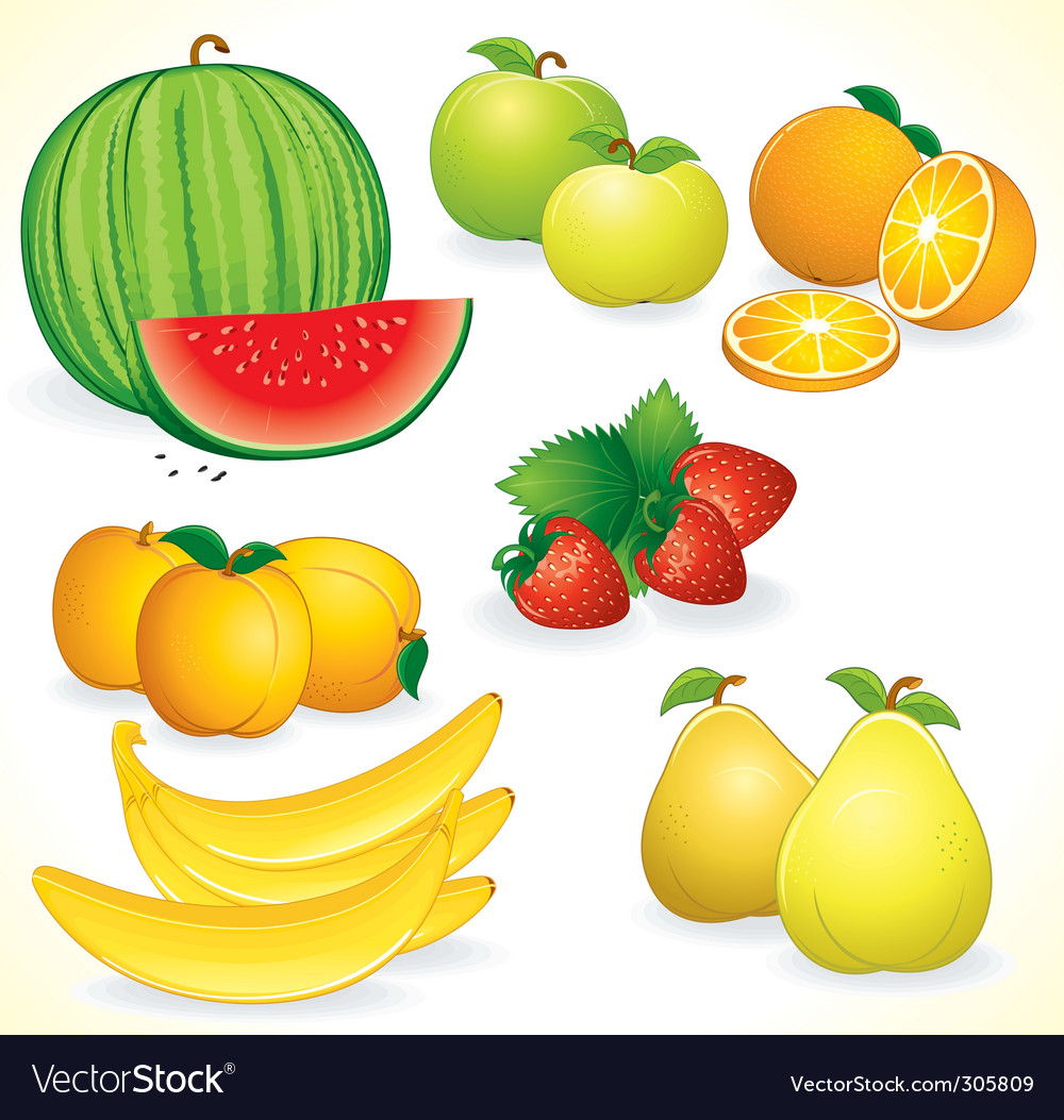 Fresh fruits set vector | Price: 3 Credit (USD $3)