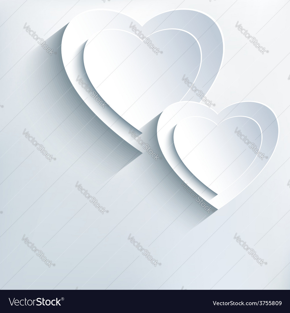 Modern grey background with white paper 3d hearts vector   Price: 1 Credit (USD $1)