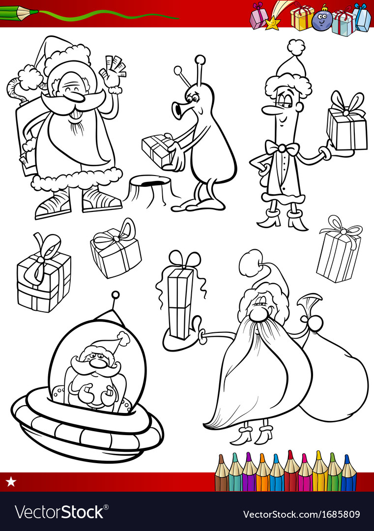 Santa claus christmas coloring page vector | Price: 1 Credit (USD $1)