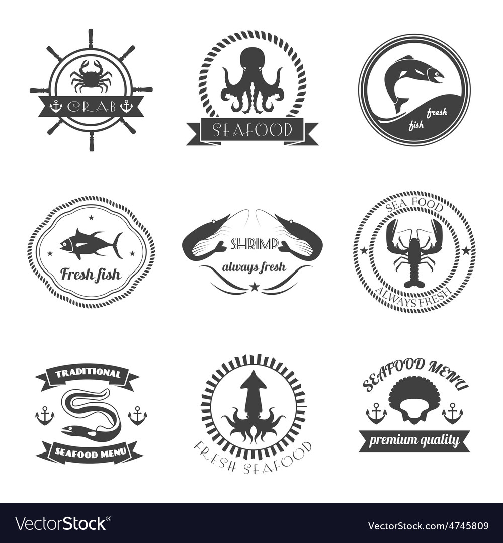 Sea food label set vector | Price: 1 Credit (USD $1)