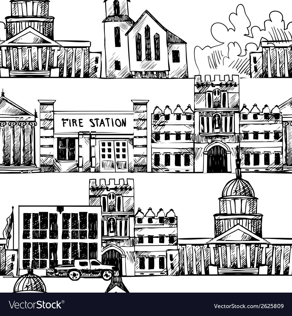 Seamless background with government buildings vector | Price: 1 Credit (USD $1)