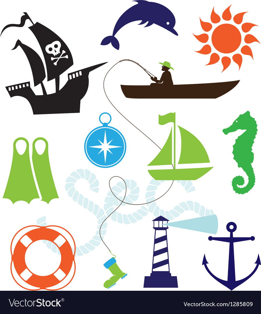 Set of sea icons vector | Price: 1 Credit (USD $1)