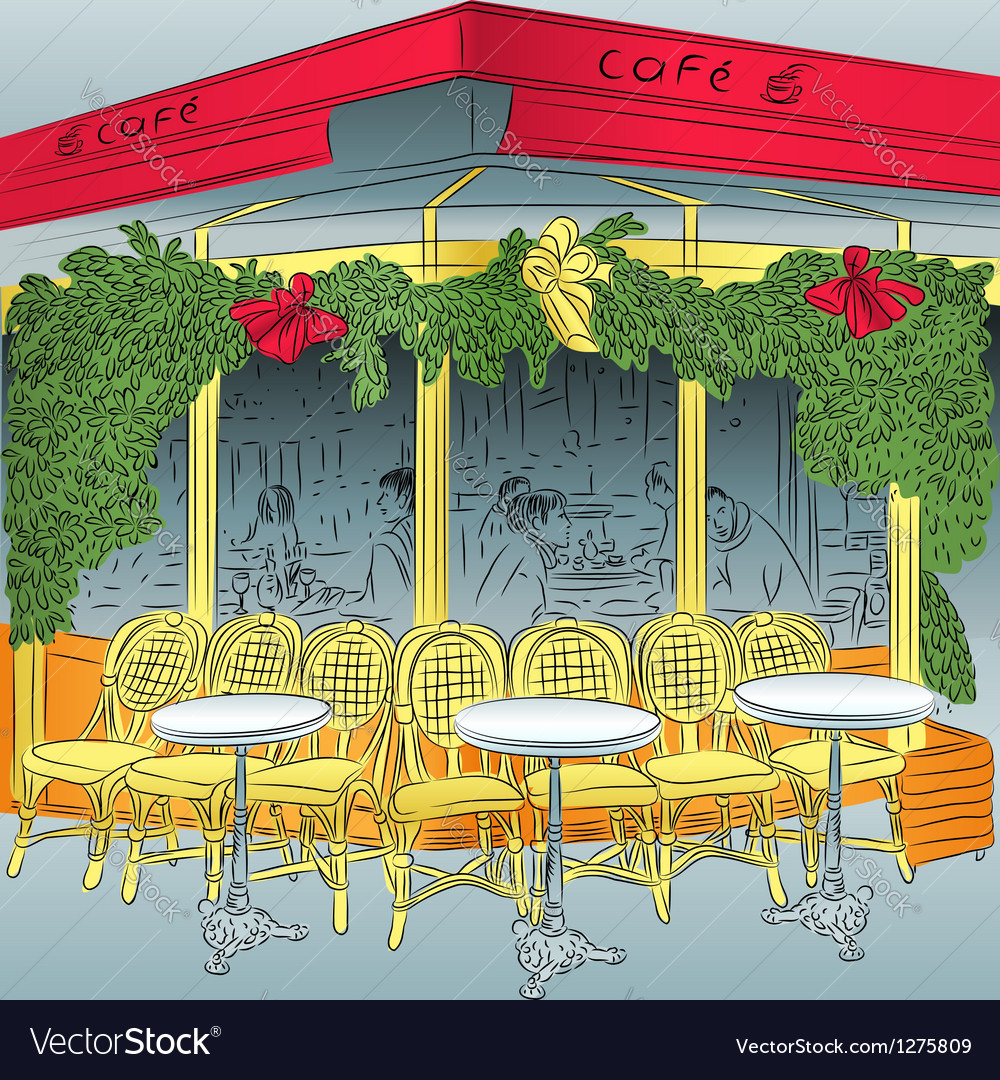 Sketch of the parisian cafe vector | Price: 3 Credit (USD $3)