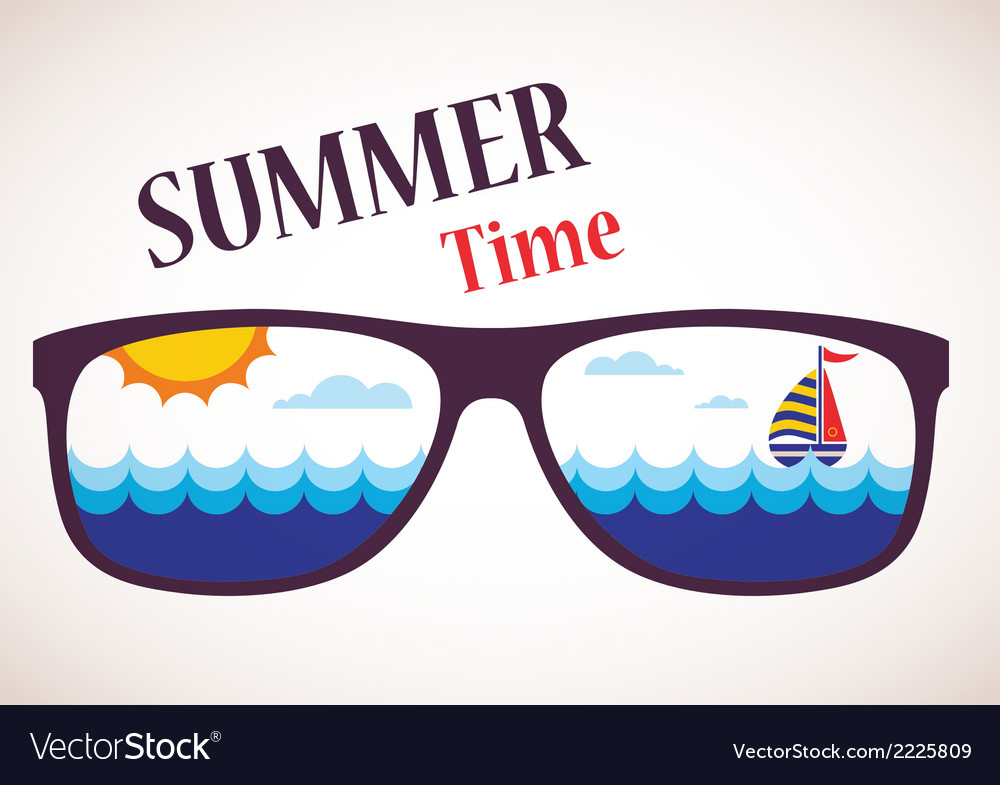 Sunglasses with summer view of ocean sea and boat vector | Price: 1 Credit (USD $1)