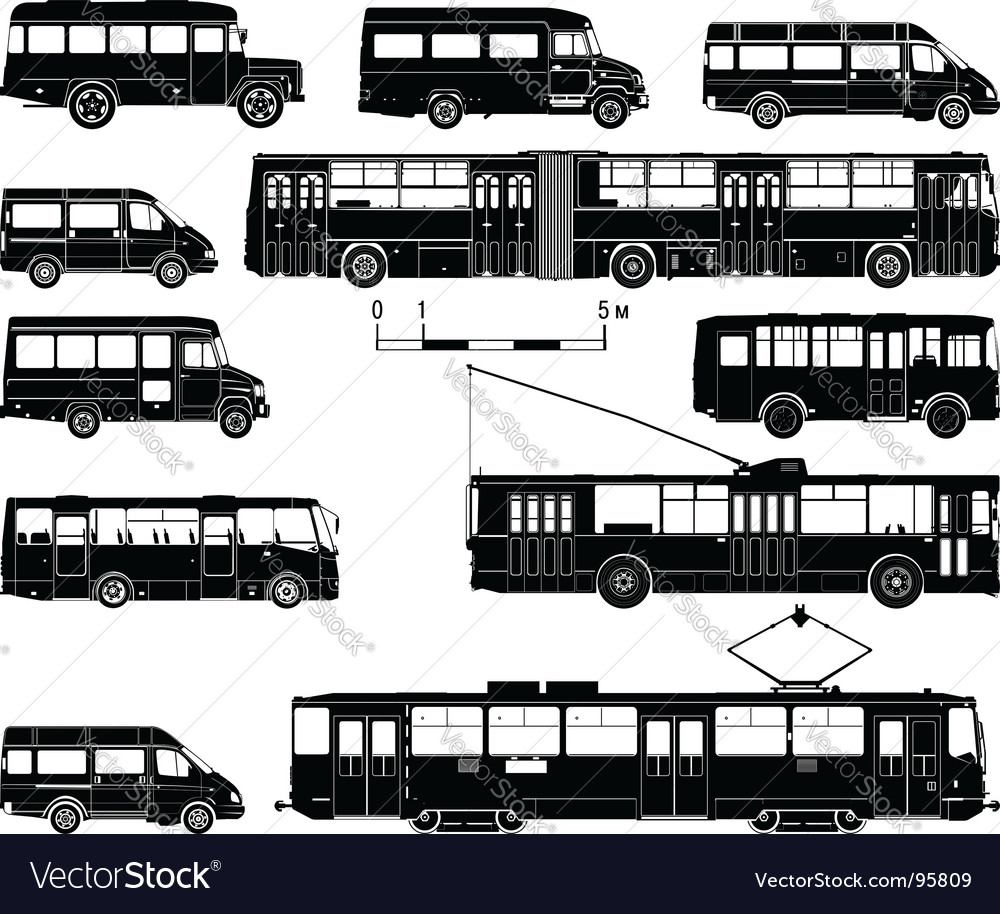 Transportation silhouettes vector | Price: 1 Credit (USD $1)