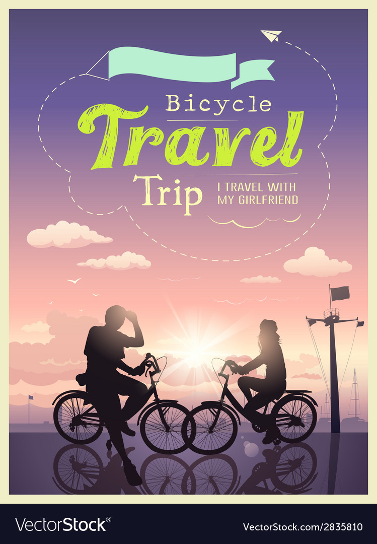 Bicycles travel trip i and my girlfriend design vector | Price: 3 Credit (USD $3)