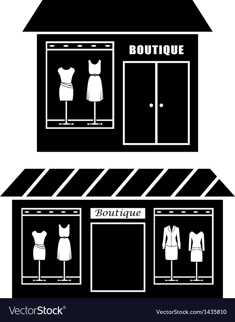 Black icon of boutique vector | Price: 1 Credit (USD $1)