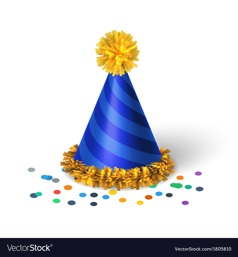 Blue birthday hat with spirals vector | Price: 1 Credit (USD $1)