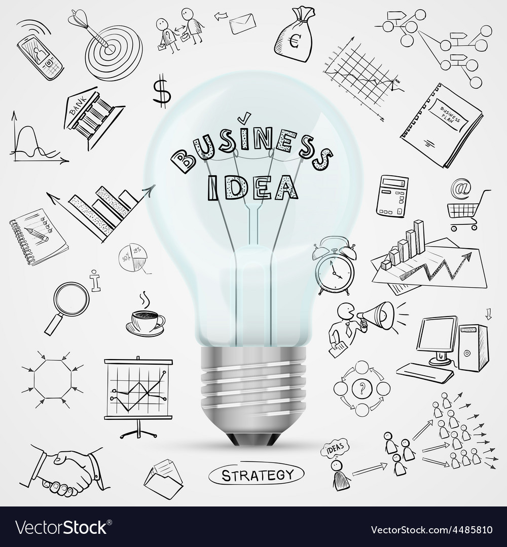 Bulb with drawing business success strategy plan vector | Price: 1 Credit (USD $1)