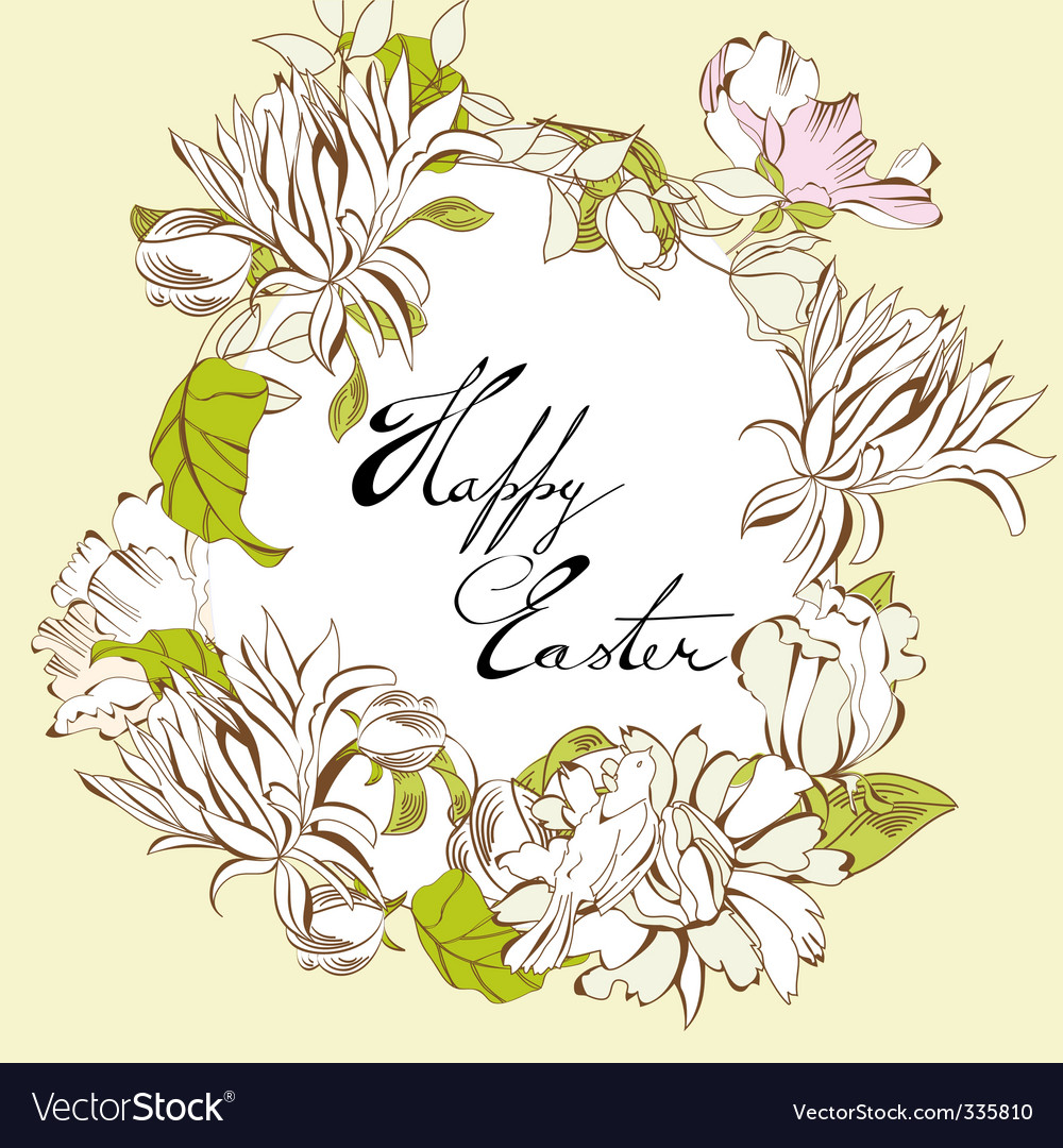 Easter egg with floral elements vector | Price: 1 Credit (USD $1)