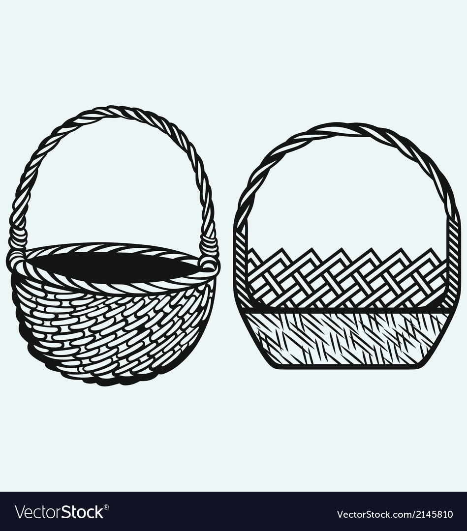 Empty wicker basket vector | Price: 1 Credit (USD $1)